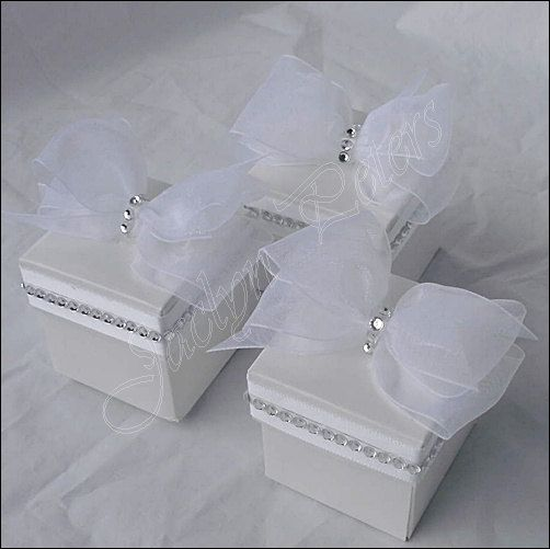 Jaclyn Peters Designs On Etsy White Wedding Favor Box With Silver Rhinestones, Bridal Shower, Sweet 16 Set Of 100