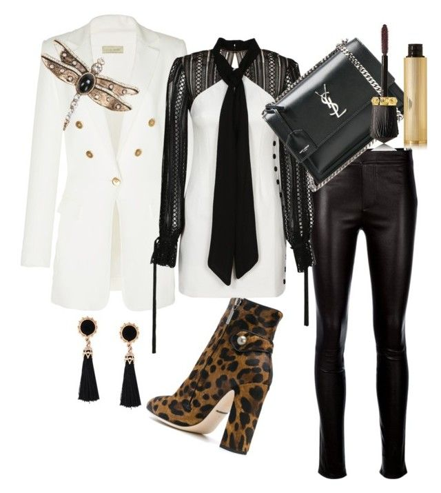 """Blazer on"" by nedelamirela on Polyvore featuring Elie Saab, Helmut Lang, Dolce&Gabbana, self-portrait, Yves Saint Laurent, Christian Louboutin and Thot"