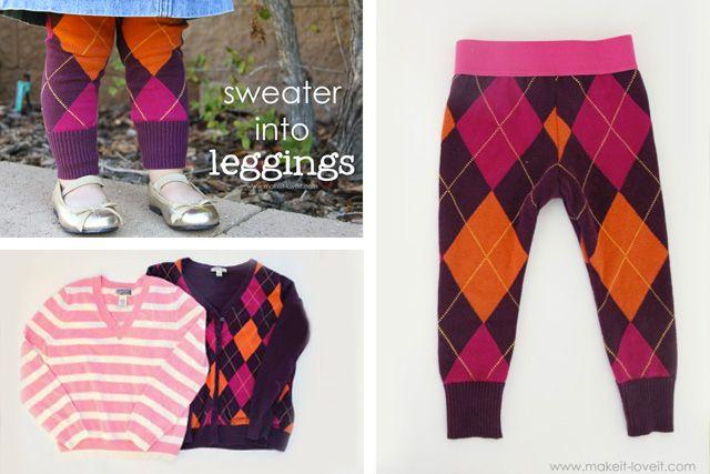 Riutilizzare i maglioni di lana - Leggins per bambina