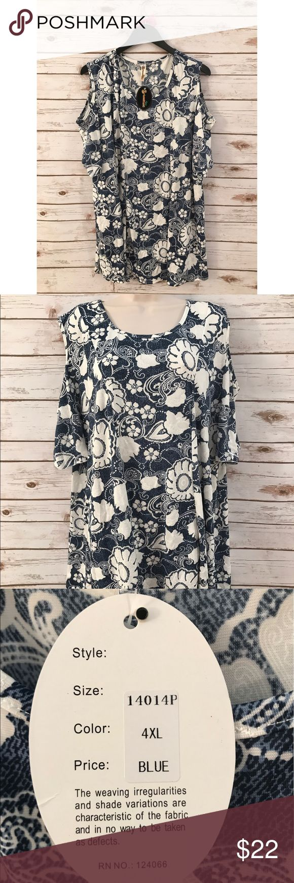 🎉NWT🎉 Shoreline Blue and White Plus Size Dress • Beautiful tropical shoreline NWT flowy dress. • Blue and white flower detailing.❣️ • Fast shipper & top rated seller⚡️ • Plus size 4XL. • No flaws. • Cutout shoulder detailing on sleeves. Shoreline Dresses Midi