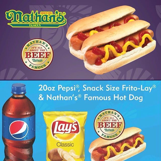 Enjoy our amazing deals on Nathan's Famous hot dogs! 2 Beef Hot Dogs for $2, Beef Chili Cheese hot dogs for only $1.29, and our Hot Dog + Pepsi + Frito-Lay Combo just $2.99! 😍😋🌭🧀🌶 #EverythingYouNeed #HotDog #Pepsi #Lunch #Chips #Beef #Chili #Cheese