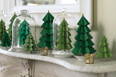 Pequeños árboles estilo origami