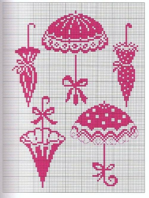 point de croix parapluies - cross-stitch umbrellas