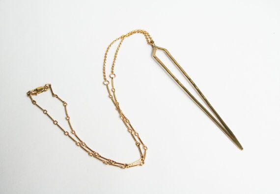 Collier pointu en or pendentif en laiton or par StefanieSheehan, $135.00
