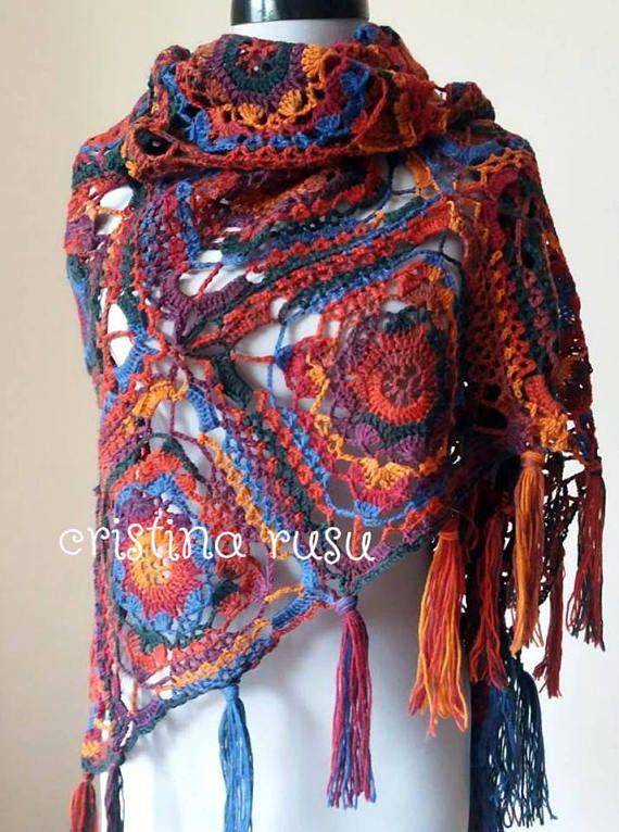 Crochet rainbow triangle  shawl scarf wrap in multicolor