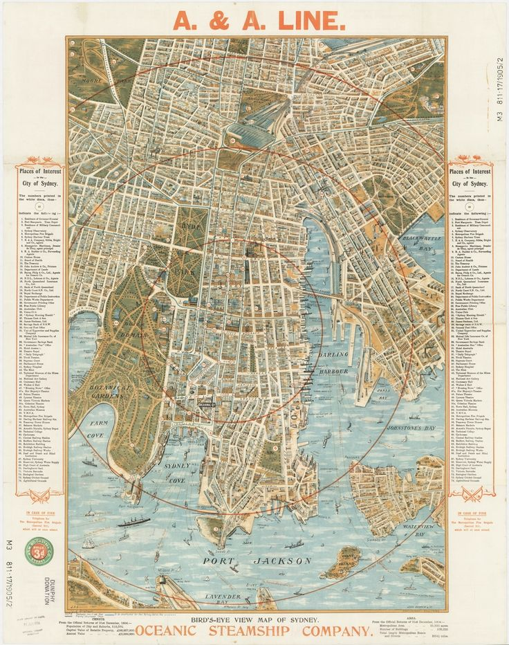Bird's eye view map of Sydney / Oceanic Steamship Company ; John Andrew & Co. Copyright Sep. 1905,. J.A.G.