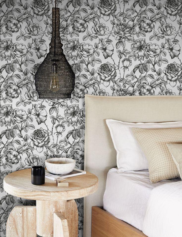 Accent Wallpaper, Wallpaper Patterns, Bedroom Wallpaper, Wallpaper Roll, Bathroom Accent Wall, Accent Walls, Farmhouse Wallpaper, Black And White Wallpaper, Living Room Shop