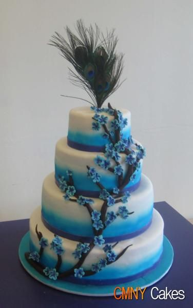 blue cakeCake Wedding, Peacocks Cake, Beautiful Cake, Blue Cake, Theme Wedding, Blue Flower, Wedding Cake, Peacocks Feathers, Peacocks Theme