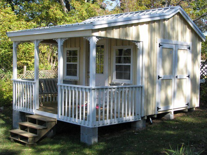 Cute garden shed with porch my cabana needs this deck for Garden shed on decking