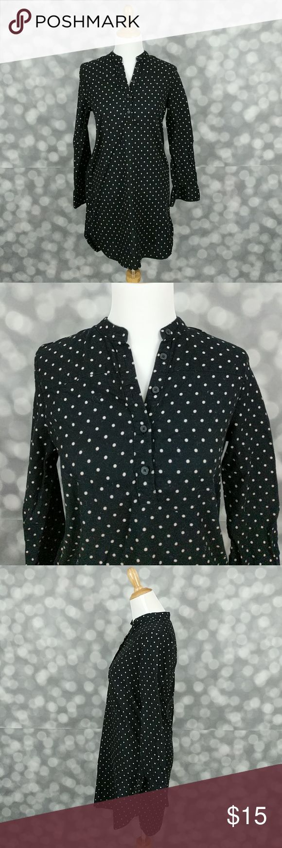Uniqlo Polka Dot Dress Black and tan polka dot button down dress from Uniqlo with straight fit.  Laying flat and fastened, dress measures approximately 18 inches from armpit to armpit and throughout dress and is 32 inches in overall length. Uniqlo Dresses Long Sleeve