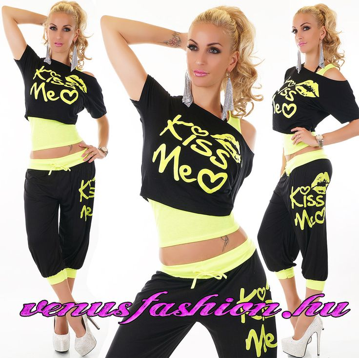 Divatos 3 részes fekete sárga szett nadrág + felső + top - Venus fashion női ruha webáruház