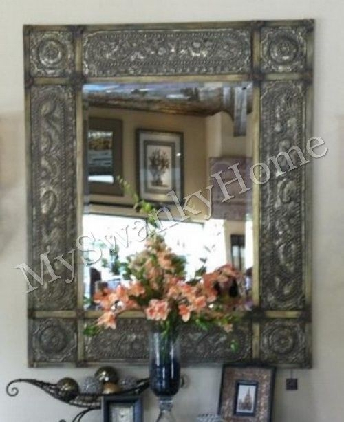 """Oversize 60"""" ANTIQUE Embossed METAL Extra Large Wall Mirror Leaner Neiman Marcus #Traditional"""