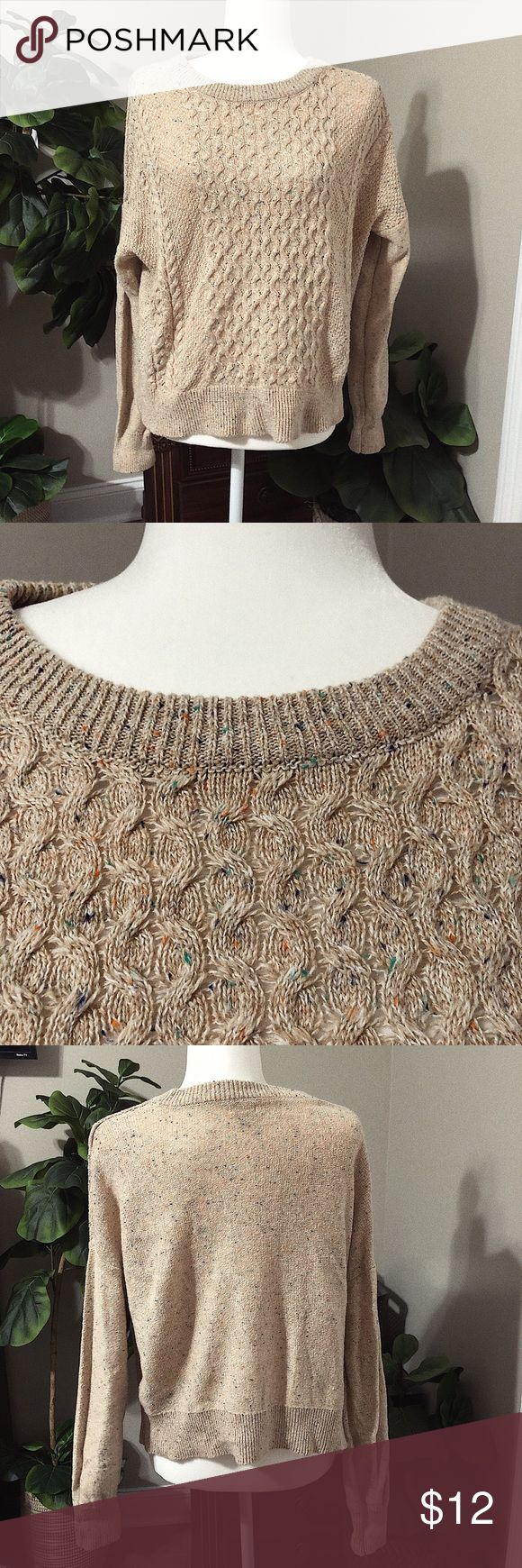 Mossimo Pullover Beige Sweater Beige with specks of blue and orange  Material: 5…