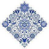 Modelo cuadrado retro del vector del arte popular con los pájaros y las flores, diseño simétrico de los azules marinos escandinav Foto de archivo libre de regalías