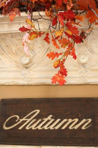 Vintage tin crown moulding made into a shelf ...fall decor at Sugar Pie Farmhouse