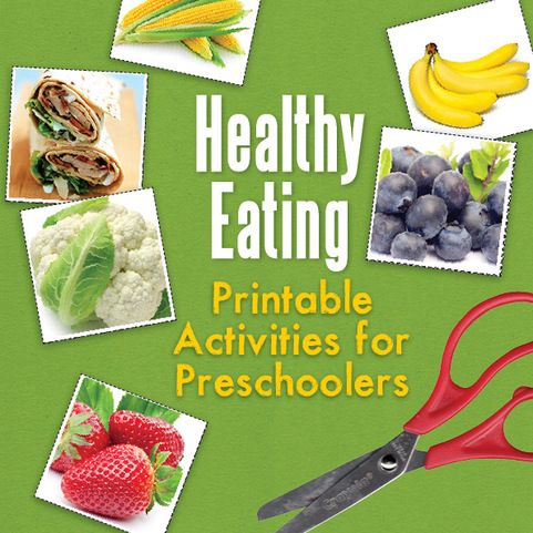 Teaching children the benefits of eating healthy food AND using their fine motor skills by using scissors.