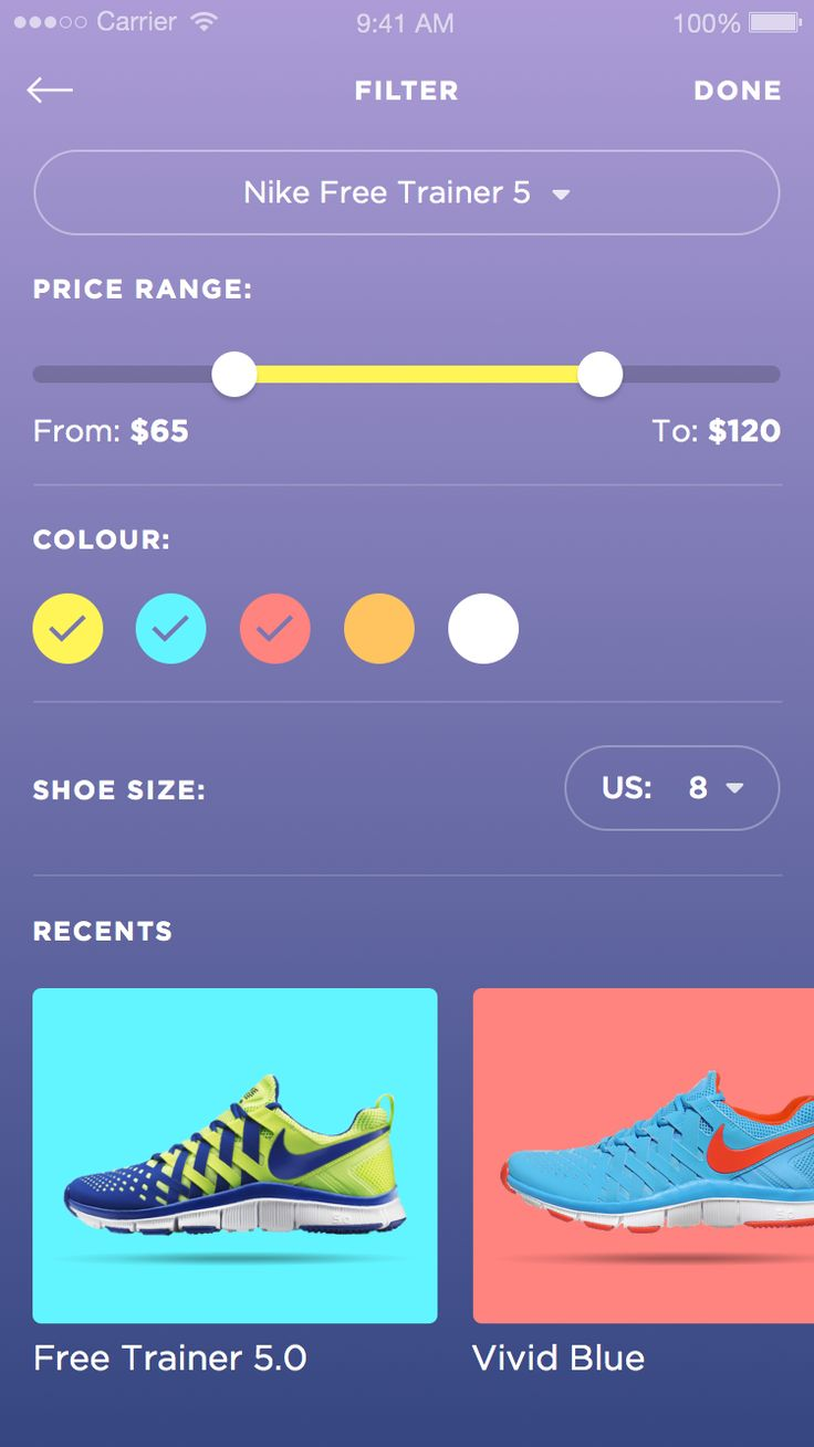 Dribbble - Betraydan-SneakerUI-1b.png by Daniel Klopper #color #filter #mobile
