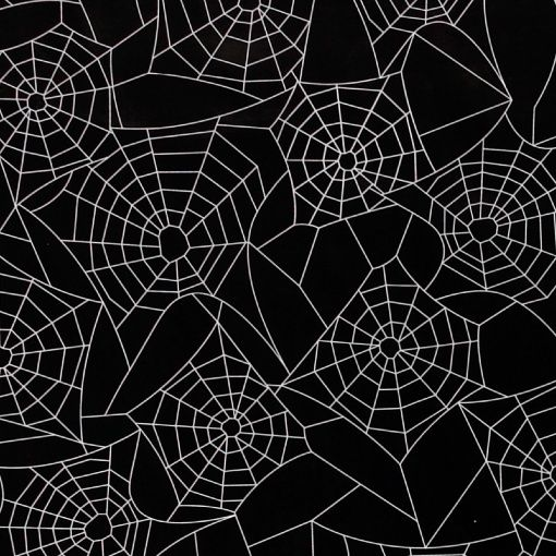 Non-woven oil cloth black w white cobweb - Stoff & Stil
