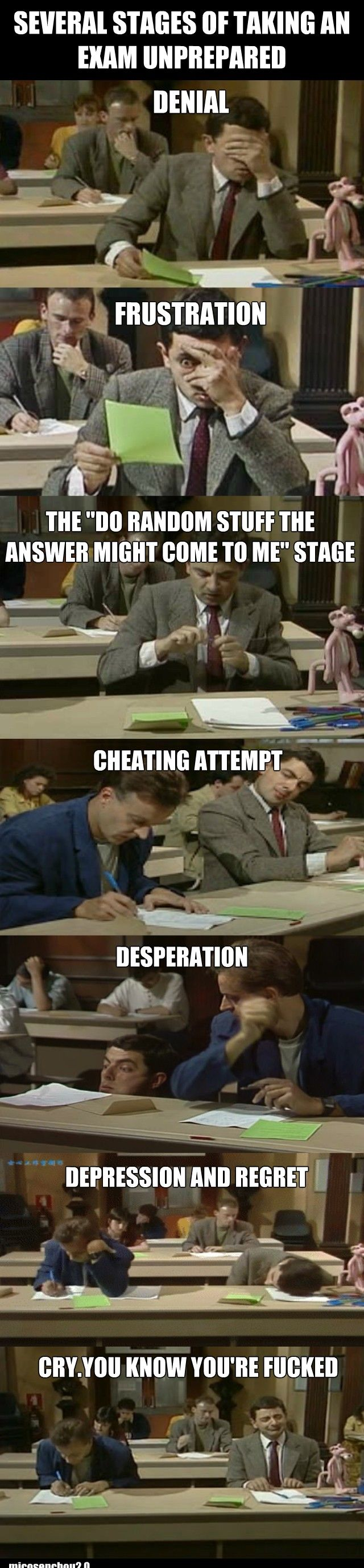 The several stages of taking an exam unprepared - http://www.jokideo.com/several-stages-taking-exam-unprepared/