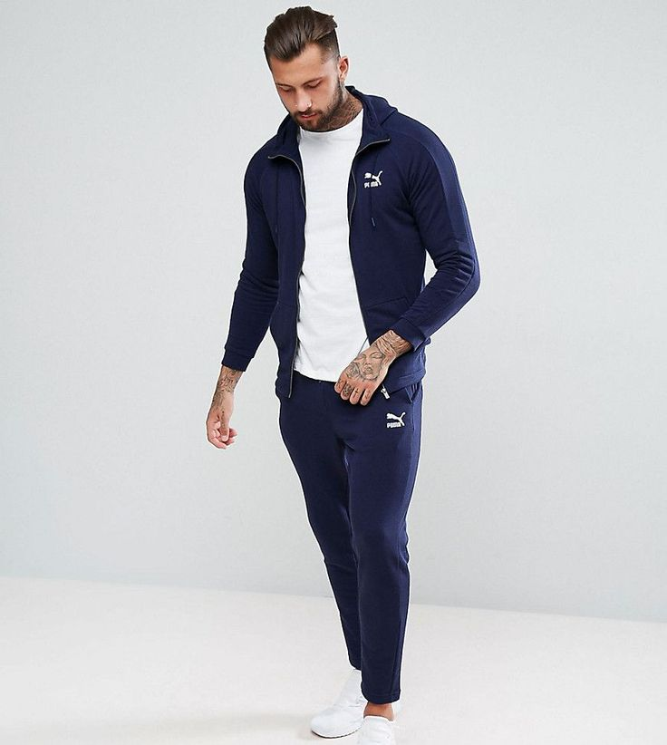 Puma Skinny Fit Tracksuit Set In Navy Exclusive to ASOS - Navy
