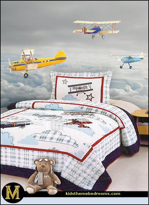 Airplanes to decorae a little boys bedroom planes peel for Aviation wall mural