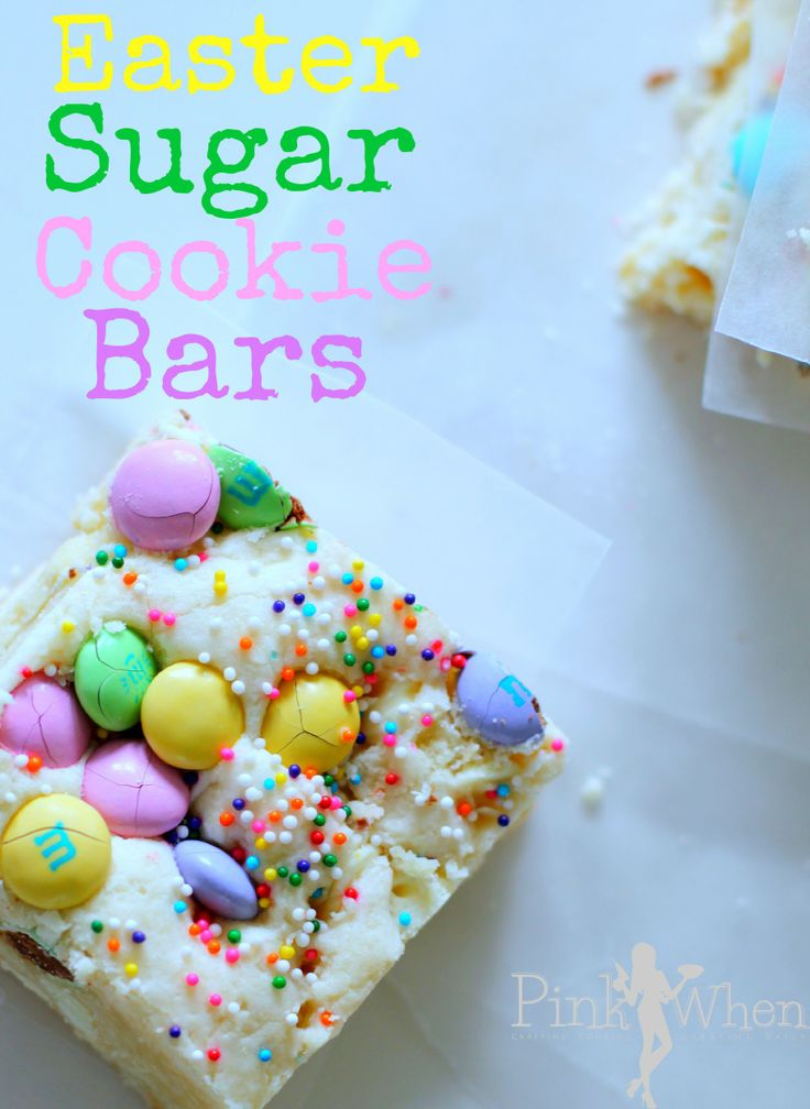 A deliciously decorated Easter Sugar Cookie Bar recipe.