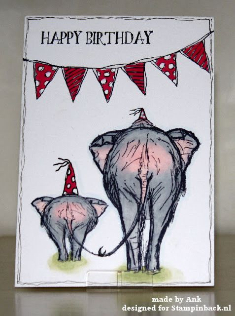 Clean & Simple, naast het stempelwerk alleen de feest puntmutsen getekend met een lakstift .   Bij de kleine olifant valt het kleine st...