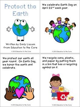 Protect the Earth: An Earth Day Mini-Book from Education to the Core FREEBIE!