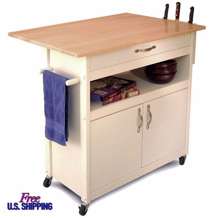 Details About Kitchen Island Cart Rolling Storage Utility Cabinet Portable White Cottage Wood