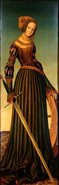 Lucas Cranach ( 1472-1553).  Heilige Katharina,  Um 1516, Öl auf Lindenholz, 139 x 46 cm. Gemäldegalerie Alte Meister, Staatliche Kunstsammlungen, Dresden.