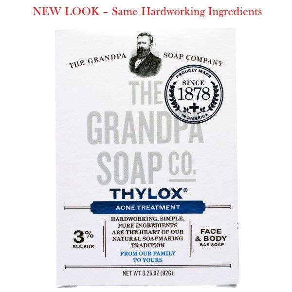 Grandpa's, Thylox Acne Treatment, Face & Body Bar Soap, 3.25 oz (92 g)