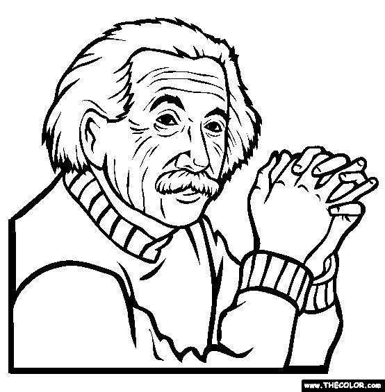 Albert Einstein Online Coloring Page. Yesterday was Pi Day