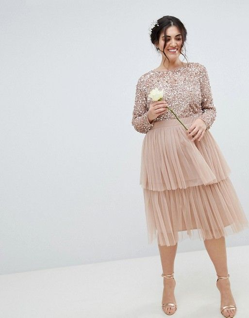 61ae4a7ed Maya Plus Bridesmaid Long Sleeve Sequin Top Midi Dress With Tiered ...