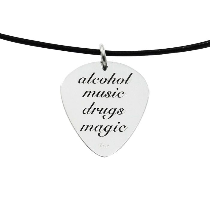 """Pendant with a guitar pick in solid silver 925°, engraved with a guitar on one side and the phrase """"alcohol music drugs magic"""" on the other side. By Shine4ever.gr !"""