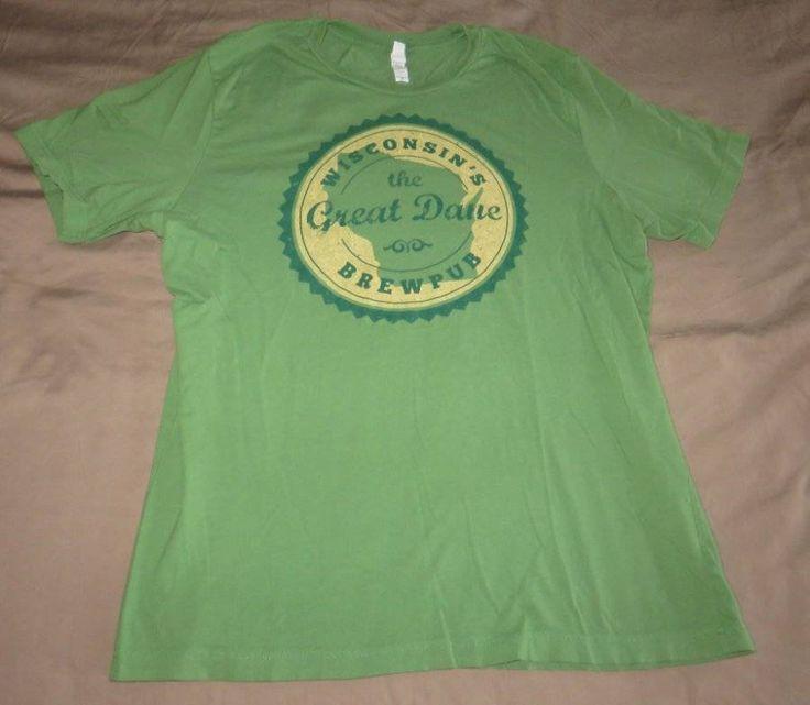 Wisconsin Great Dane Brew Pub Green Shirt Adult Sz Xl Fade