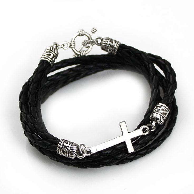 Leather Wrap Cross Bracelet