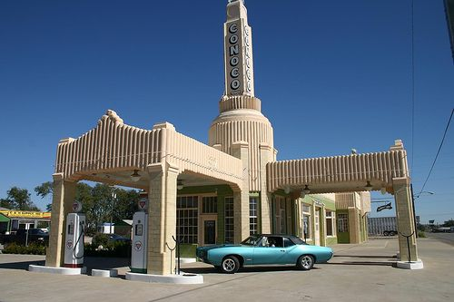 "Restored Conoco gas station along historic Route 66 in Shamrock, Texas.  This station was the inspiration for Ramone's Body Shop in the movie ""Cars""."