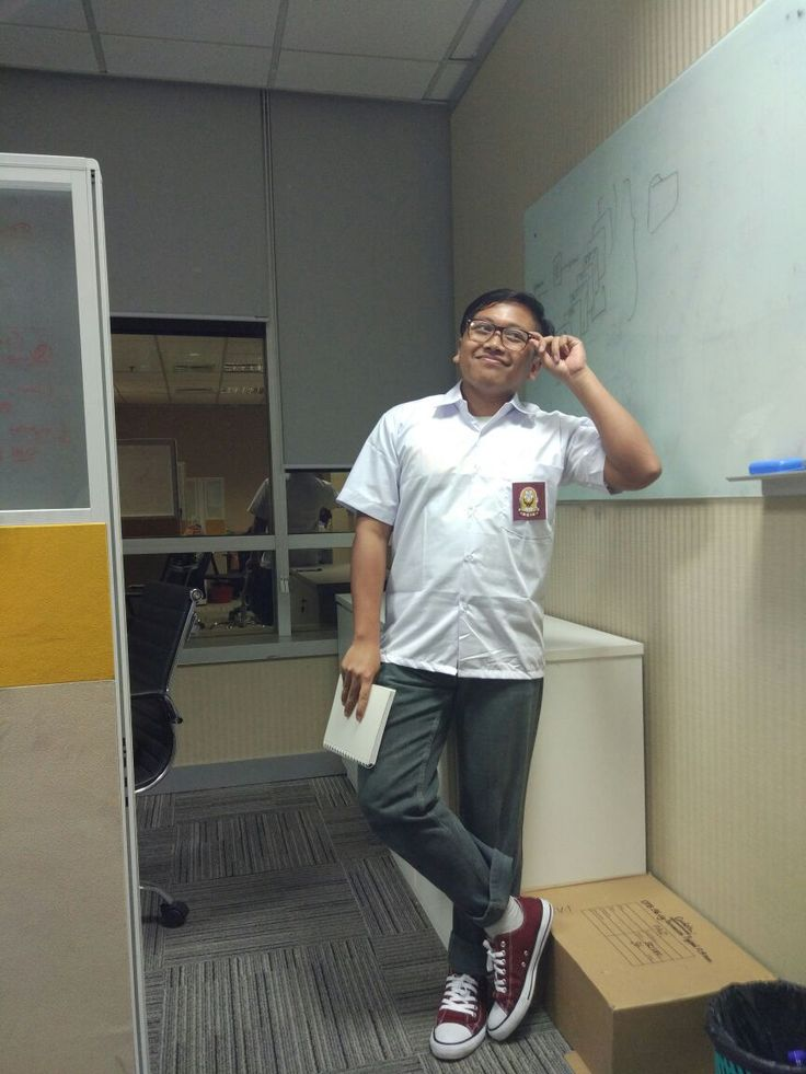 High school costume in office