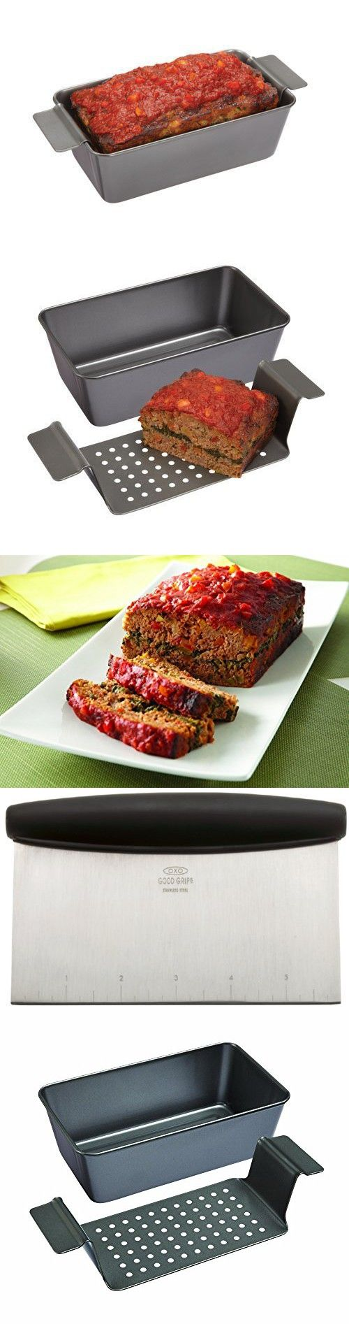 Premium Heavy Duty Gray Finish Non Stick 2 Piece Meatloaf Pan and a Multi Purpose Scraper