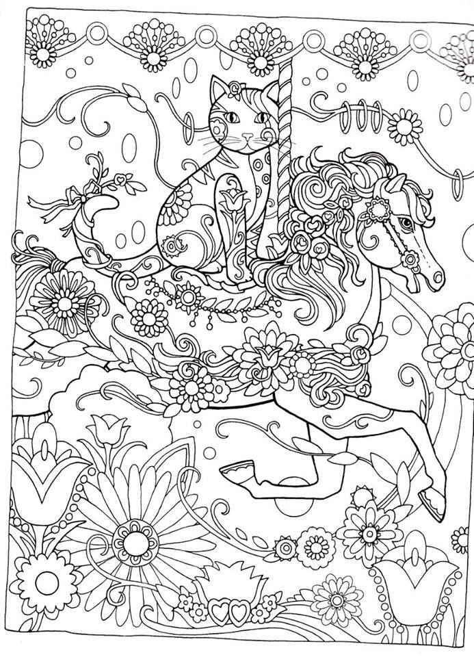 Creative Cats Coloring Book Page Dover Abstract Doodle Zentangle Pages Colouring Adult Detailed Advanced Printable
