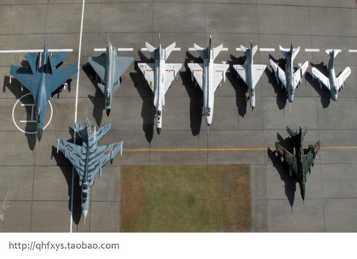 Made in China: all Modern Chinese fighter jets in one photo.  left to right you can ID: Shenyang J-11, Chengdu J-10, Shenyang J-8II, Shenyang J-8, Chengdu J-7, Shenyang J-6, Shenyang JJ-2. Front row: Xian JH-7A, Nanchang A5.