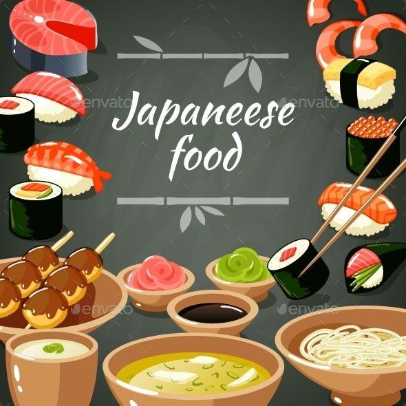 Sushi Food Illustration (Vector EPS, CS, asia, asian, Bento, blowfish, chopsticks, decorative, drink, fish, flyer, food, fried, fugu, grill, japan, japanese, miso, noodle, poster, print, restaurant, rice, rolls, sake, sashimi, Soba, sushi, temaki, wallpaper, wasabi, Yakitori)
