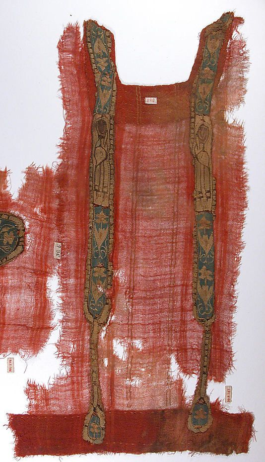 Tunic Fragment with Applied Bands, 6th–9th century, Coptic, Egypt Culture. Wool, linen; plain weave, tapestry weave.