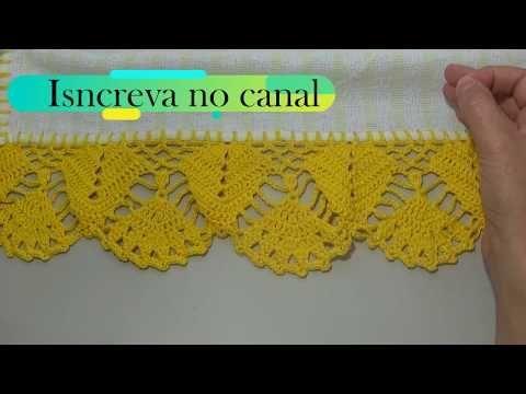 Barrado em crochê para pano de prato simples e fácil - modelo 52 - YouTube