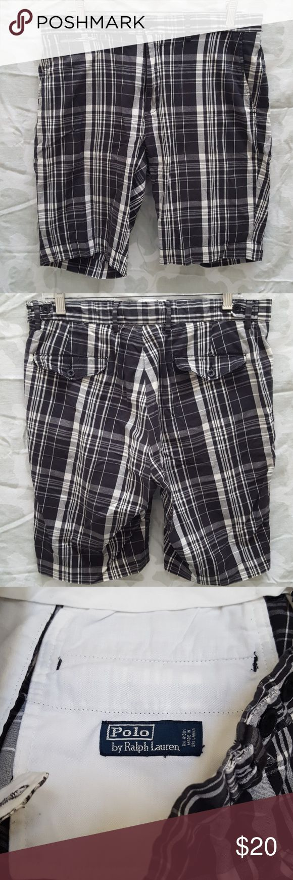 Vtg Polo Ralph Lauren Plaid Flat Front Shorts For sale is a used pair of Vintage Mens Polo Ralph Lauren Plaid Flat Front shorts.   They are a mens waist size 33   Material: 100% Cotton  Color: Black/Grey/White  Shorts are in good used condition for its age normal wear from wash. Great piece to own! be sure to pick this up today!  Offers welcomed using offer button.   NO TRADES.  NO LOWBALLING. Polo by Ralph Lauren Shorts