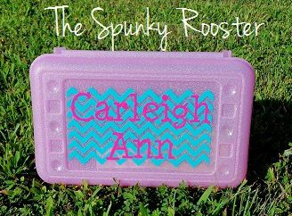Personalized Pencil Box by TheSpunkyRooster on Etsy, $8.50