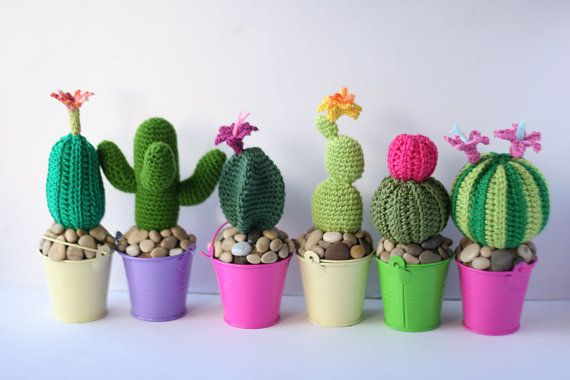 PDF pattern amigurumi cactus 2 round potted cacti plant by TomToy