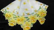 Vintage Unused Scalloped Yellow Daffodils & Jonquil Flowers Floral Hankie