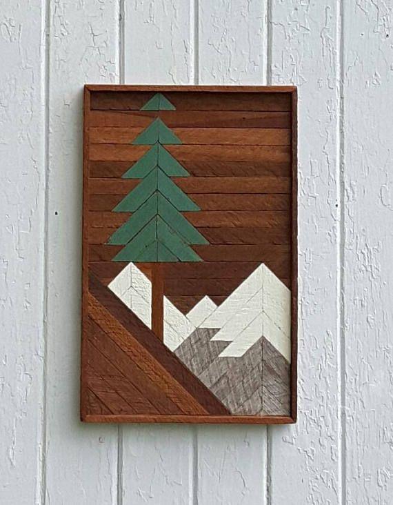 Reclaimed Wood Wall Art Mountain Pine Tree Scene Santa Fe