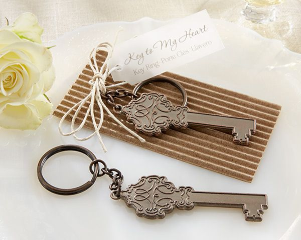 Key to My Heart Antique Keychain Wedding Bomboniere